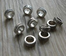 Set of 10 mini silver tone alloy dreadlock hair braid beard beads 4.5mm hole