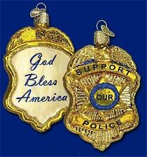 POLICE BADGE OLD WORLD CHRISTMAS GLASS LAW ENFORCEMENT GLASS ORNAMENT NWT 36129