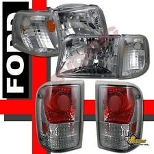 93-97 Ford Ranger XL XLT STX Chrome Headlights Corner Signal & Tail Lights Smoke