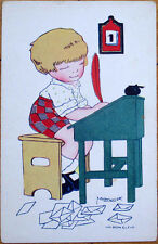 1930 M. Vanasek/Artist-Signed French Children Postcard: Boy, Quill, Desk, Pen