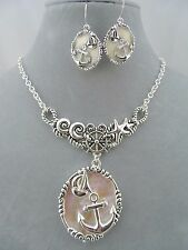 Silver Anchor Sailboat Necklace Set Shell Fashion Jewelry New