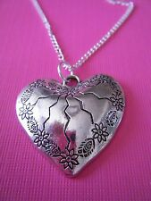 """FREE GIFT ** ANTIQUED SILVER Large Broken Heart With 18"""" CHAIN NECKLACE"""