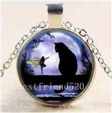 Black Cat and Fairy Cabochon Glass Tibet Silver Chain Pendant Necklace#1458