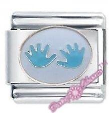 DAISY CHARM JSC Italian Charms - BLUE BABY HANDPRINTS