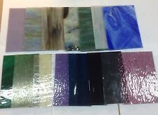 QUALITY LOT of Glass  5 x 7  15 pieces of STAINED GLASS mixed colors  textures
