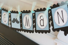 """Blue and Black Mustache Bowtie Baby Shower """"Little Man"""" or """"It's a Boy"""" Banner"""