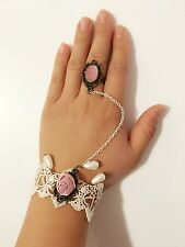 Victorian Vintage White Lace Pink Rose Hand Harness Slave Chain Bracelet Ring