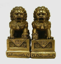 China Chinese Brass Folk Fengshui Foo Fu Dog Guardion Door Lion Statue Pair