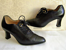 Size UK 6 vintage Victorian 20s 30s 40s steampunk black leather lace up shoes