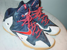 "2014 Nike Lebron 11 ""Indepedence Day"" White/Obsidian Basketball Shoes! Size 8.5"