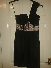 Womens One Shoulder Knee Length Dress - Holly Willoughby - Black & Pink - BNWT 8