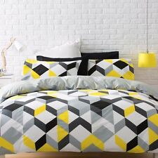 BLACK YELLOW GREY WHITE GEOMETRIC KING bed QUILT DOONA COVER SET NEW