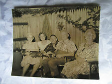 "Vintage Photo ""Old Folks"" with Dachshund Dog summer fun in the backyard 1950s"