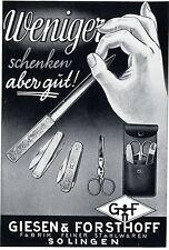 Giesen & Forsthoff Solingen FABRIK FEINER STAHLWAREN  Kunstwerbung von 1938