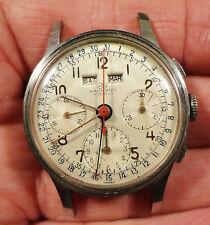 Vtg Wakmann 17J Triple Date 3 Registers Valjoux 72c Britix WOG Chronograph Watch