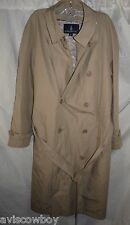 London Fog Double Breasted Belted Trench Removable Liner Beige Men's 40 Short
