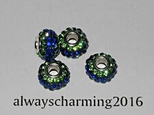 BIG HOLE SAPPHIRE/PERIDOT RHINESTONE RESIN RONDELLE SPACER BEAD FOR JEWELRY
