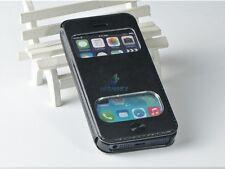 Coque Housse Etui  motif  imitation cuir vitre noir black  Pour IPhone 5 5S