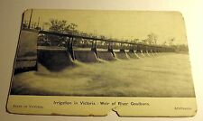 B&W Postcard Irrigation Victoria Weir of River Goulburn Australia Early 1900's