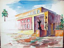 Acquerello '900 su carta Watercolor Architettura futurista cubista razionale-22