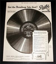 1919 OLD MAGAZINE PRINT AD, PATHE' FRERES RECORDS, GET THE BROADWAY HITS FIRST!
