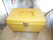Vintage Wilson Wil-Hold Sewing Box w/ 1 Tray Plastic Case Yellow Small