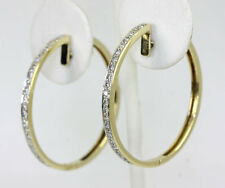 "Diamond hoop earrings 14K yellow gold large 42 round brilliant .65CT 1 3/8"" long"