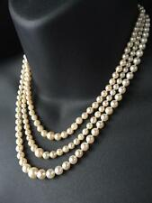 ANTIQUE 18CT GOLD DIAMOND SAPPHIRE SALTWATER PEARL THREE STRAND NECKLACE - 714