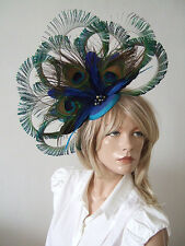 8 Sword Curled Peacock Cluster Crystals & Pearls Fascinator Blue Green Ascot