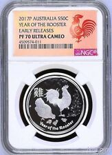 2017 P Australia PROOF Silver Lunar Year of the Rooster NGC PF 70 1/2 oz Coin ER