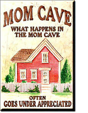 MOM CAVE What Happens in The Mom Cave Often Goes...  Miniature Tin Sign Magnet