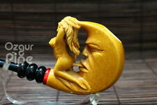 MOON AND NUDE LADY WITH ACRYLIC RING MEERSCHAUM SMOKING TOBACCO PIPE PIPA PFEIFE