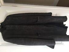 Neuf origine PIAZZA SEMPIONE anthracite cuir d'agneau shearling coat stud/zip avant - 48