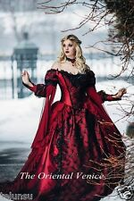 Medieval Red Black Ball Gown Gothic Wedding Dress Long Sleeve Lace Bridal Gown