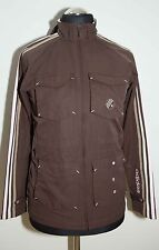 WOMENS GIRLS ADIDAS VINTAGE JACKET ZIP BROWN SIZE S 164 CM EXCL