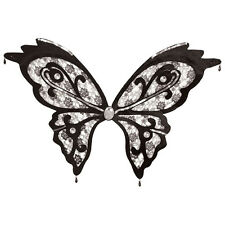 BUTTERFLY WINGS BLACK LACE FANCY DRESS ADULT ACCESSORY