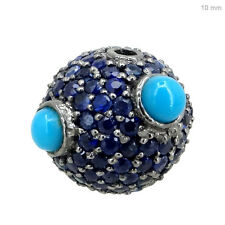 925 Sterling Silver Blue Sapphire/ Turquoise Spacer Ball Disco Bead Finding 10MM