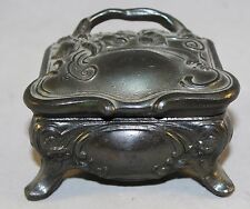 Antique French Art Nouveau Pewter Trinket Box With Original Liner