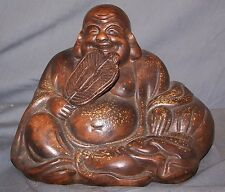 Japanese Meiji Bizen Ware Hotei Lucky God Wealth Statue Figurine-Buddha-Signed