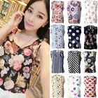 Women's Girl Big Plus Size New Loose Sleeveless Floral Chiffon Tops Blouses Vest