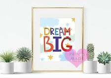 Dream big funky alphabet fun nursery  / wall art / print / new baby moustache