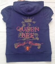NWT Juicy Couture New Ladies Small Purple Blue Cotton Queen Bee Logo Hoodie UK10