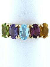 LADIES 10K GOLD BLUE PURPLE YELLOW GREEN 5 GEMSTONE MOTHER CZ RING