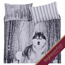 Forest Wolf White Snow 3D Print Bedding Duvet Cover Set Pillowcases Size Double