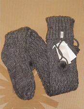 UGG Over the Knee Metallic Cable Knit Socks CHARCOAL Grey Sock Size 9-11 NWT