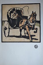 THE CABRIOLET WILLIAM NICHOLSON ORIGINAL WOODCUT STUDIO 1898