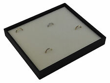Black Wooden Textured Ring Display Tray with White Velvet Pad to hold 36 rings