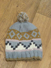 MONSOON ACCESSORIZE WARM GREY BROWN GREY WHITE PINK CHUNKY BOBBLE HAT ONE SIZE