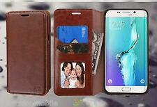 For Samsung Galaxy S6 Edge + PLUS Leather Flip Wallet Case Cover Stand BROWN