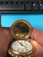 Vintage 1895  American Waltham Hunter Style 14K GF Ladies Pocket Watch